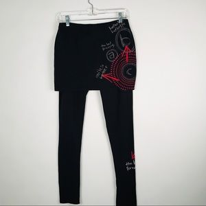 DESIGUAL BLACK LEGGINGS WITH A MINI SKIRT ATTACHED
